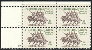 1981 Fredrick Remington American Artist Plate Block Of 4 18c Postage Stamps - Sc# 1934 - MNH, OG - CW15a