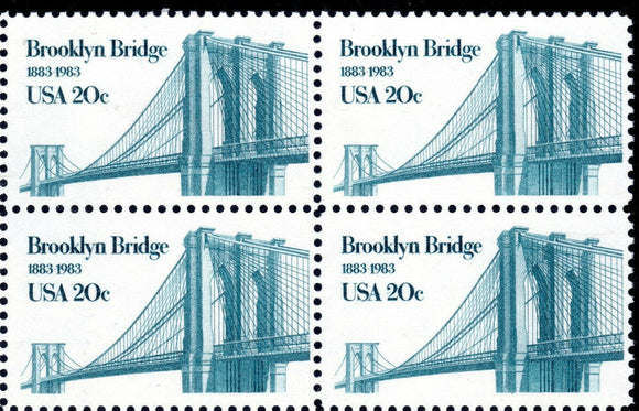 1983 Brooklyn Bridge Block Of 4 20c Postage Stamps - Sc# 2041 - MNH, OG - CW249a