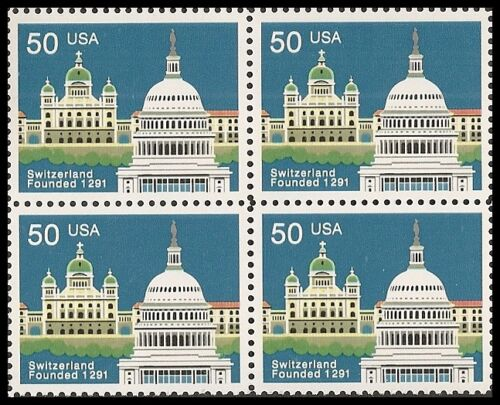 1991 Switzerland 700th Anniversary Block Of 4 50c Postage Stamps - Sc# 2532 - MNH - CW409c
