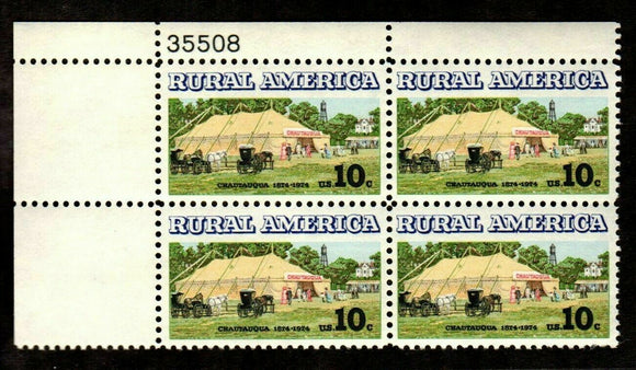 1974 Rural American Chautauqua Plate Block of 4 10c Postage Stamps - Sc# - 1505 - MNH, OG - CX684