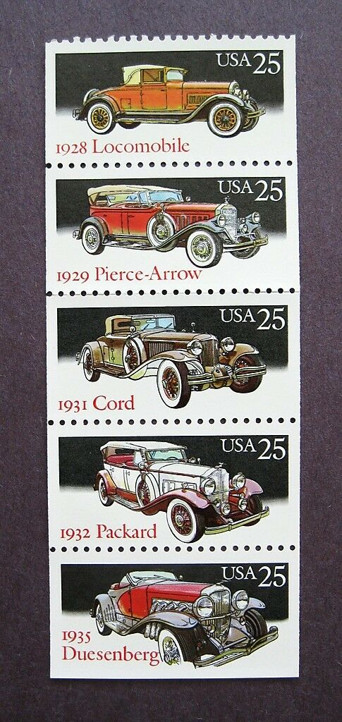 1988 Classic Automobiles Cars Booklet Pane of 5 25c Stamps - MNH, OG - Sc# 2381-2385 - CX413