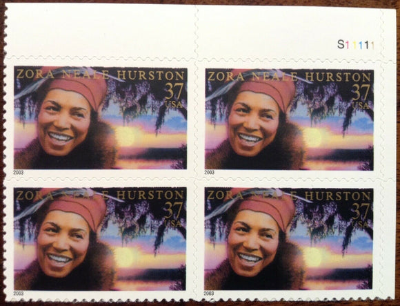 2003 - Zora Neale Hurston Plate Block Of 4 37c Postage Stamps - Sc# 3748 - MNH, OG - DC123