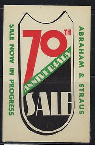 VEGAS- 1935 Abraham & Straus 70th Anniversary Promotional Poster Stamp (CQ122)