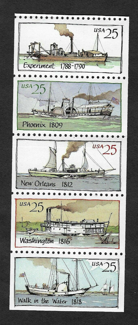 1989 Steamboats Booklet Pane Of 5 25c US Stamps - MNH, OG - Scott# 2405-2409 - CX406
