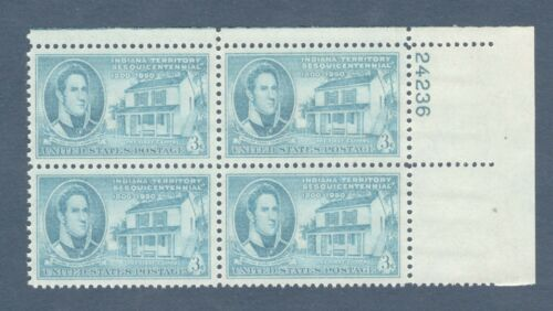 1950 Indiana Territory Plate Block of 4 3c Postage Stamps - MNH, OG - Sc# 996