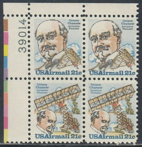 1979 Octave Chanute Plate Block Of 4 21c Postage Stamps - Sc C93 & C94 - MNH, OG - CX885