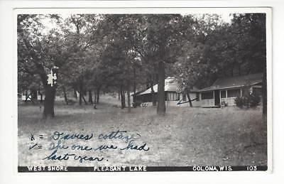 1946 Real Photo Postcard - West Shore, Pleasant Lake, Coloma, WI -Read Rev (AJ1)