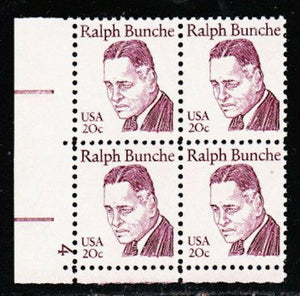 1982 Ralph Bunche Plate Block of 4 20c Postage Stamps - MNH, OG - Sc# 1860
