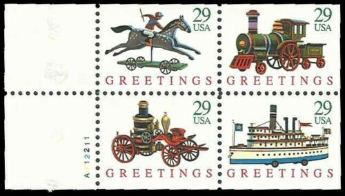 1992 Plate Block Of Christmas 4 29c Stamps - MNH, OG - Sc# 2715-2718 - CX412