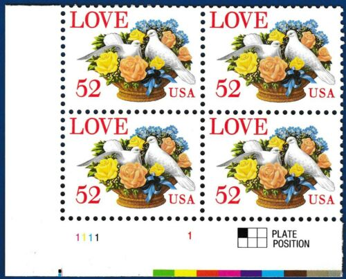 1994 Love Birds Doves Stamp Plate Block of 4 52c Postage Stamps - MNH, OG - Sc# 2815