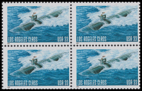 2000 Los Angeles Class Attack Submarine Block of 4 33c Postage Stamps - MNH, OG - Sc# 3372