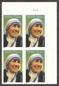 Mother Teresa Plate Block of 4 USA 44c Postage Stamps - Sc# 4475 - DR153