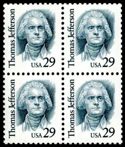 1993 Thomas Jefferson Block of 4 29c Postage Stamps - MNH, OG - Sc# 2185