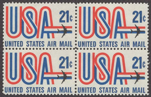 1971-73 USA & Jet Block Of 4 21c Postage Stamps - MNH, OG - Sc# C81- CX432a