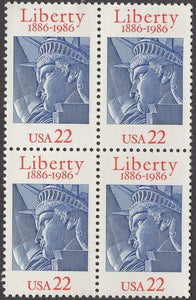 1986 Statue Of Liberty Block Of 4 22c Postage Stamps - Sc# 2224 - MNH, OG - CT80a