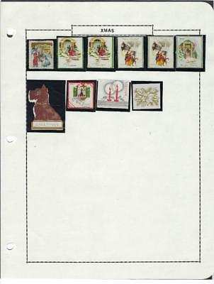 Small Vintage Christmas Poster Stamp Collection On 3 Hole Page - (CG62)