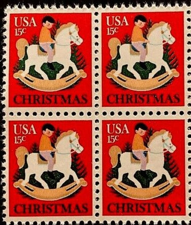 1978 Christmas Hobby Horse Block Of 4 15c Postage Stamps - MNH, OG - Sc# 1769- CX421
