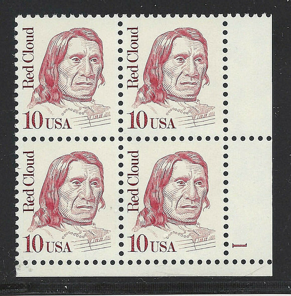 1987 Red Cloud Native American Plate Block of 4 10c Postage Stamps - MNH, OG - Sc# 2175 - CY1111b