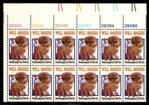 1979 Will Rogers Plate Block Of 12 15c Postage Stamps - Sc# 1801 - MNH, OG - CW17b