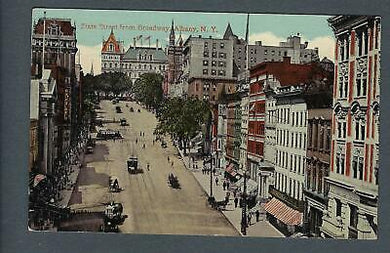 VEGAS - Early 1900s Postcard Albany, NY - State Street From Broadway - FD355