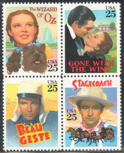 1990 USA Classic Films - Blk Of 4 25c Stamps - Sc 2445-2448 - MNH, OG - CW222