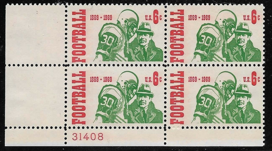 1969 Football Centennial Plate Block Of 4 6c Postage Stamps - MNH, OG - Sc# 1382 - CX293