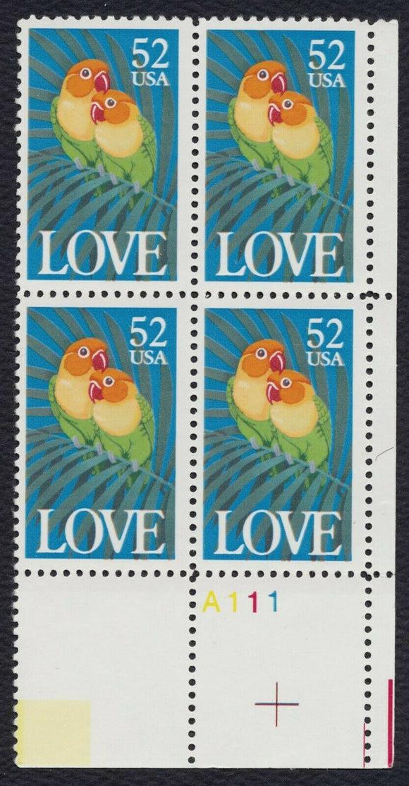 1991 Love Birds Plate Block Of 4 52c Postage Stamps - Sc 2537 - MNH - CW410a