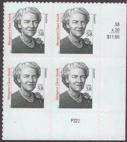2000-09 Margaret Chase Smith Plate Block of 4 58c -Sc# 3427 - MNH - CX791