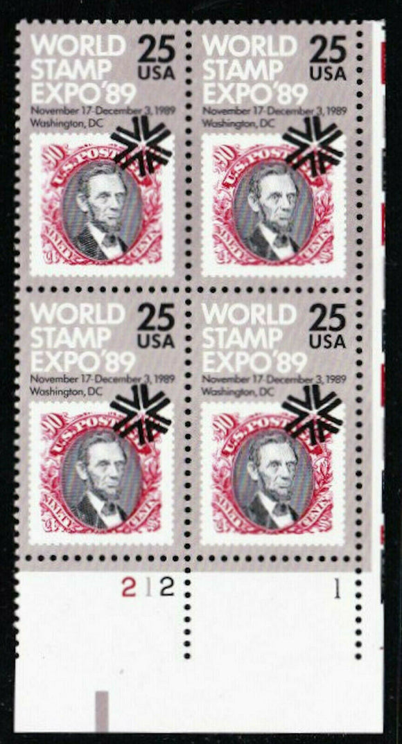 1989 World Stamp Expo 89 Plate Block of 4 25c Postage Stamps - MNH, OG - Sc# 2410