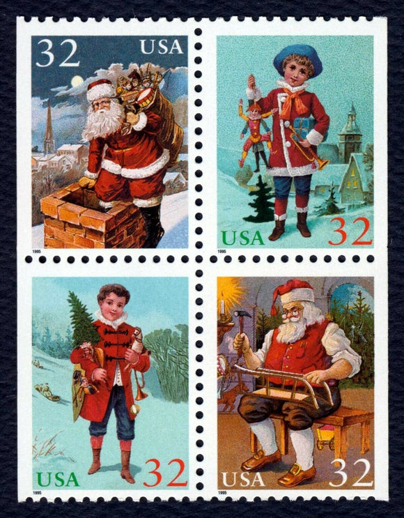 1995 Christmas Santa & Children Booklet Block of 4 32c Postage Stamps - MNH, OG - Sc# 3007a