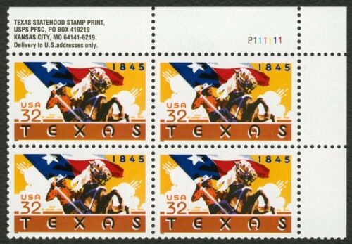 1995 USA Texas Plate Block Of 4 32c Stamps - MNH, OG - Scott# 2968 - CW339