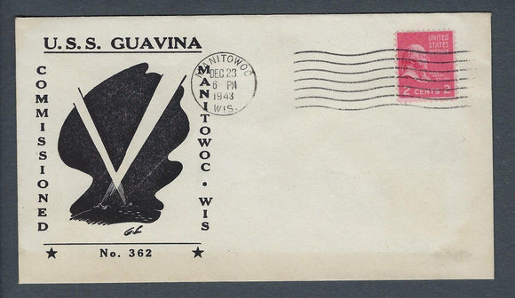 VEGAS - 1943 USA Submarine USS Guavina Commission Cover - Manitowoc, WI -EX276