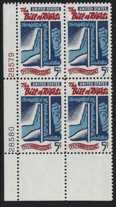 1966 Bill Of Rights Plate Block Of 4 5c Postage Stamps - MNH, OG - Sc# 1312 - CX290