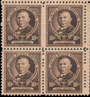 1940 Booker T Washington Block of 4 10c Postage Stamps - MNH, OG - Sc# 873