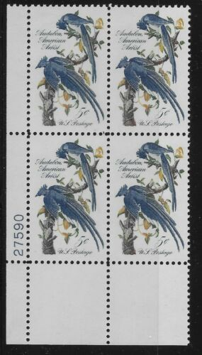 1963 Audubon Columbia Jays Plate Block Of 4 5c Postage Stamps - MNH, OG - Sc# 1241`- CX208