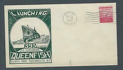VEGAS - 1943 Submarine QueenFish - Contraros Launch Cover -Portsmouth, NH -FD202