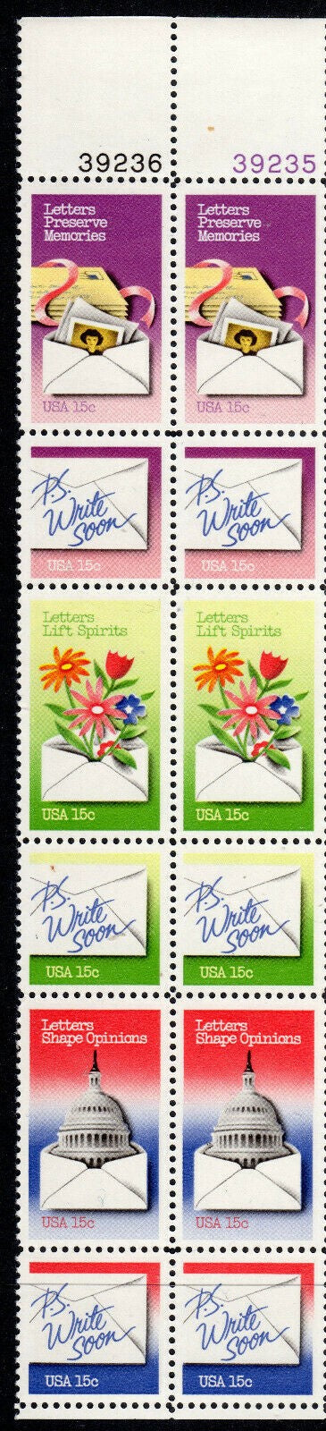 1979 Letter Writing Week Strip Of 12 15c Postage Stamps With Plate Numbers - Sc# 1805-1810 - MNH, OG - CW30a