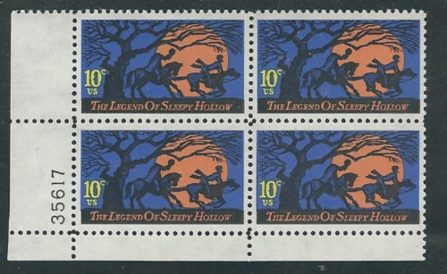 1974 Halloween Legend Of Sleepy Hollow Plate Block Of 4 10c Postage Stamps - MNH, OG - Sc# 1548 - CX325