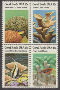 1980 Coral Reefs Block Of 4 15c Postage Stamps Sc# 1827-1830 - CW205