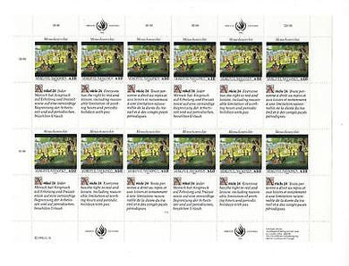 United Nations Vienna - Sc# 140 - MNH Full Sheet - Article 24 - (CO70)