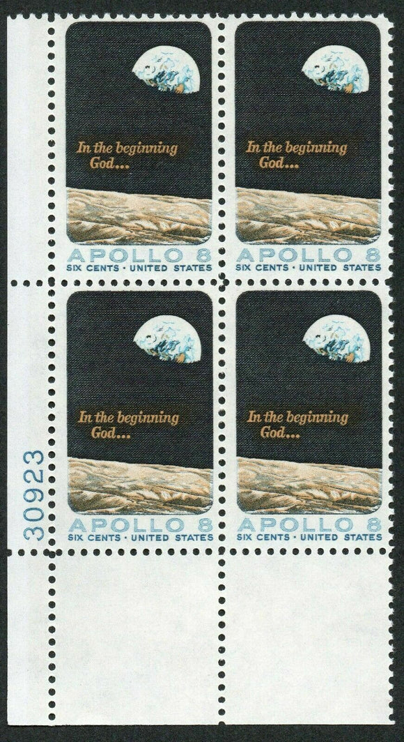 1969 Space Apollo 8 Plate Block Of 4 6c Postage Stamps - MNH, OG - Scott# 1371 - CX356
