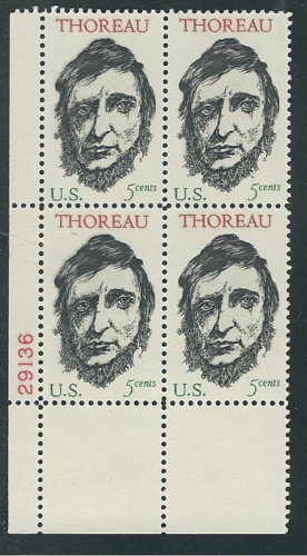 1967 Henry David Thoreau Plate Block Of 4 5c Postage Stamps - MNH, OG - Sc# 1327`- CX229