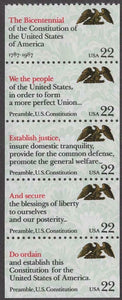 1987 We The People Booklet Pane of 5 22c Stamps - MNH, OG - Sc# 2355-2359 - CX407