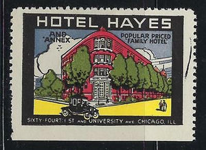 VEGAS - c1920s Hotel Hayes, Chicago Promotional Poster Stamp - Read Desc (CR36)