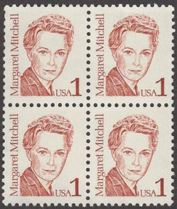 "1986 Margaret Mitchell ""Gone With The Wind"" Block of 4 1c Postage Stamps - MNH, OG - Sc# 2168"
