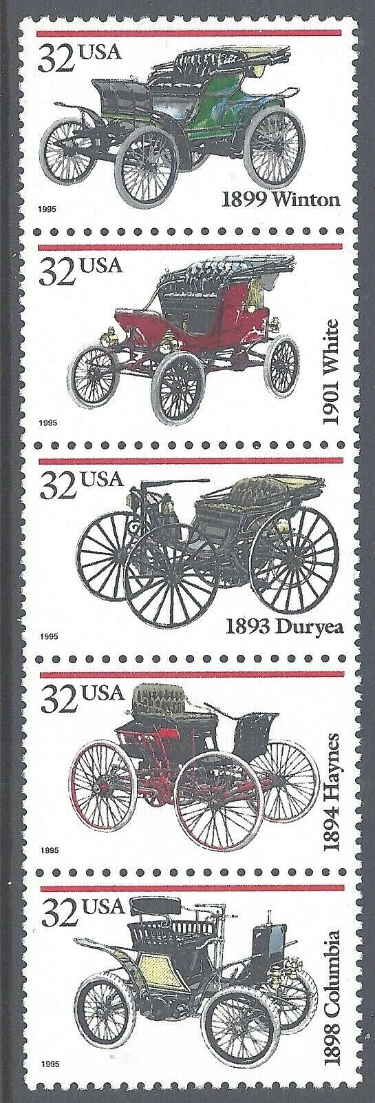 1995 Antique Automobiles Cars Strip Of 5 32c Postage Stamps - Sc# 3019-3023, MNH, OG - CW354