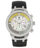 Aqua Master Men's Power Canary Diamond Watch with Diamond Bezel and Rubber Strap 4.25 ctw