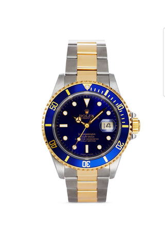 Pre-Owned RolexX Stainless Steel And 18K Yellow Gold Two Tone Submariner Watch With Blue Dial, 40mm