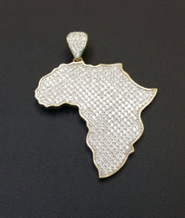 Africa Map Yellow Gold Pendant