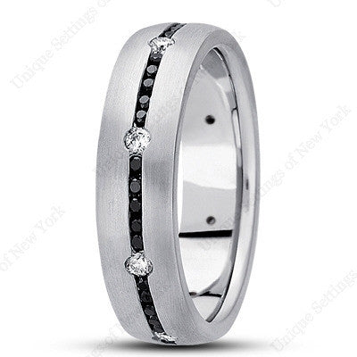 Black/white diamond mens wedding ring